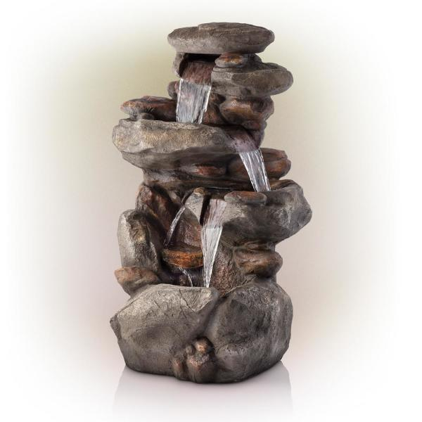40 in. Tall Outdoor 4-Tier Rock Water Fountain with LED Lights