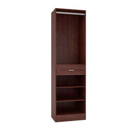 15 in. D x 24 in. W x 84 in. H Sienna Cherry Melamine with 3-Shelves, Drawer and Hanging Rod Closet System Kit