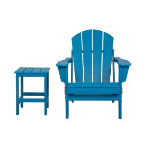 LUNA Pacific Blue Poly Outdoor Adirondack Chair with Side Table