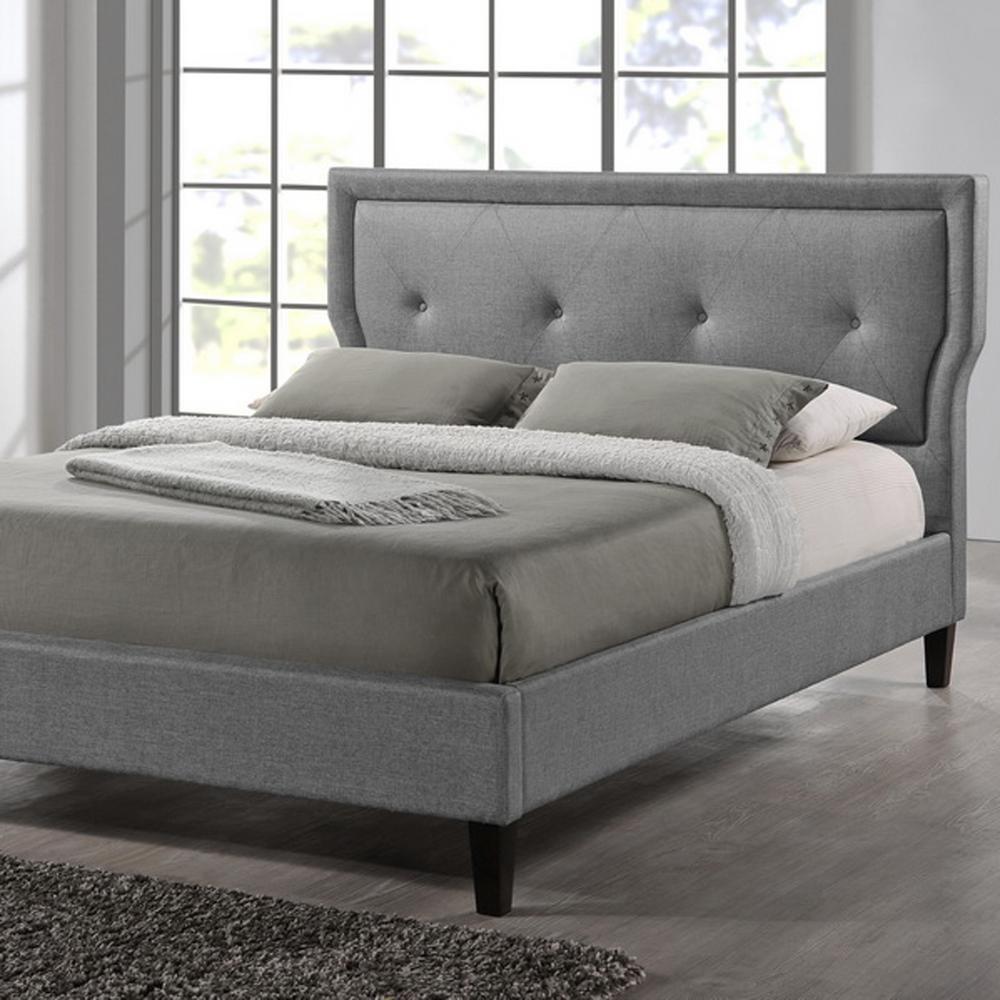 Marquesa Transitional Gray Fabric Upholstered King Size Bed