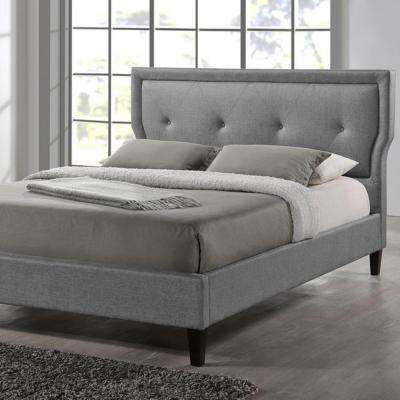 Marquesa Transitional Gray Fabric Upholstered Queen Size Bed