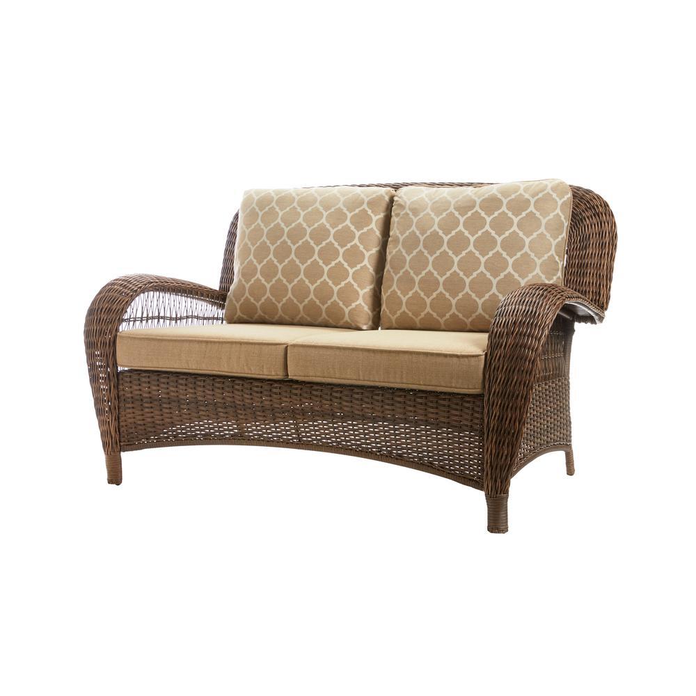 Hampton Bay Beacon Park Brown Wicker Outdoor Patio Loveseat with Standard  Toffee Cushions
