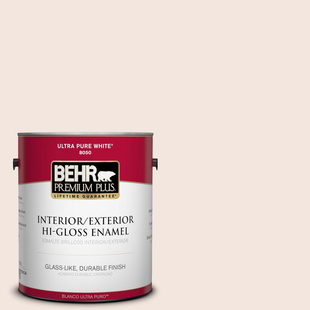 BEHR Premium Plus 1-gal. #RD-W6 Soothing Pink Hi-Gloss Enamel Interior/Exterior Paint