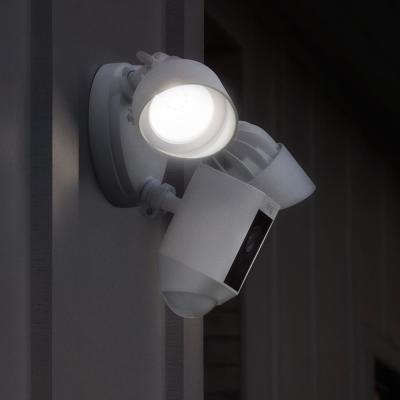 Outdoor Wi-Fi Wired Standard Surveillance Camera with Motion Activated Floodlight with Chime Pro in White (2-Pack)