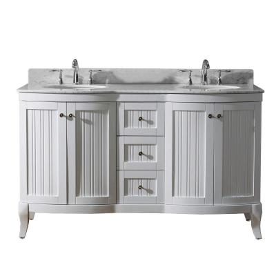 Virtu USA Khaleesi 60 in. W Double Bath Vanity in White with Marble Vanity Top and Round Basin with Faucet