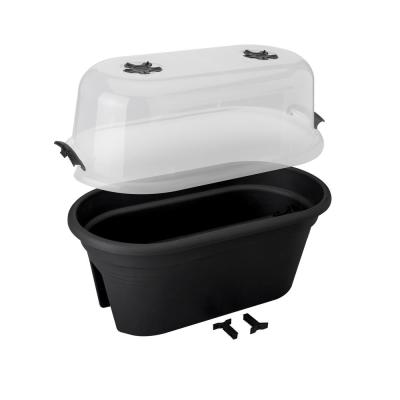 22 in. Black Plastic Oval Planter with Cover