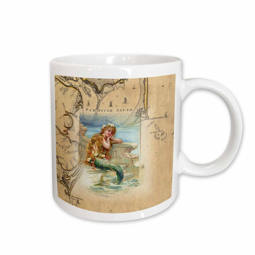 Rose Florene Nautical Map Decor Print Of Vintage Outer Banks With Mermaid 11 Oz White Ceramic Coffee Cup Mug 204851 1 The Home Depot