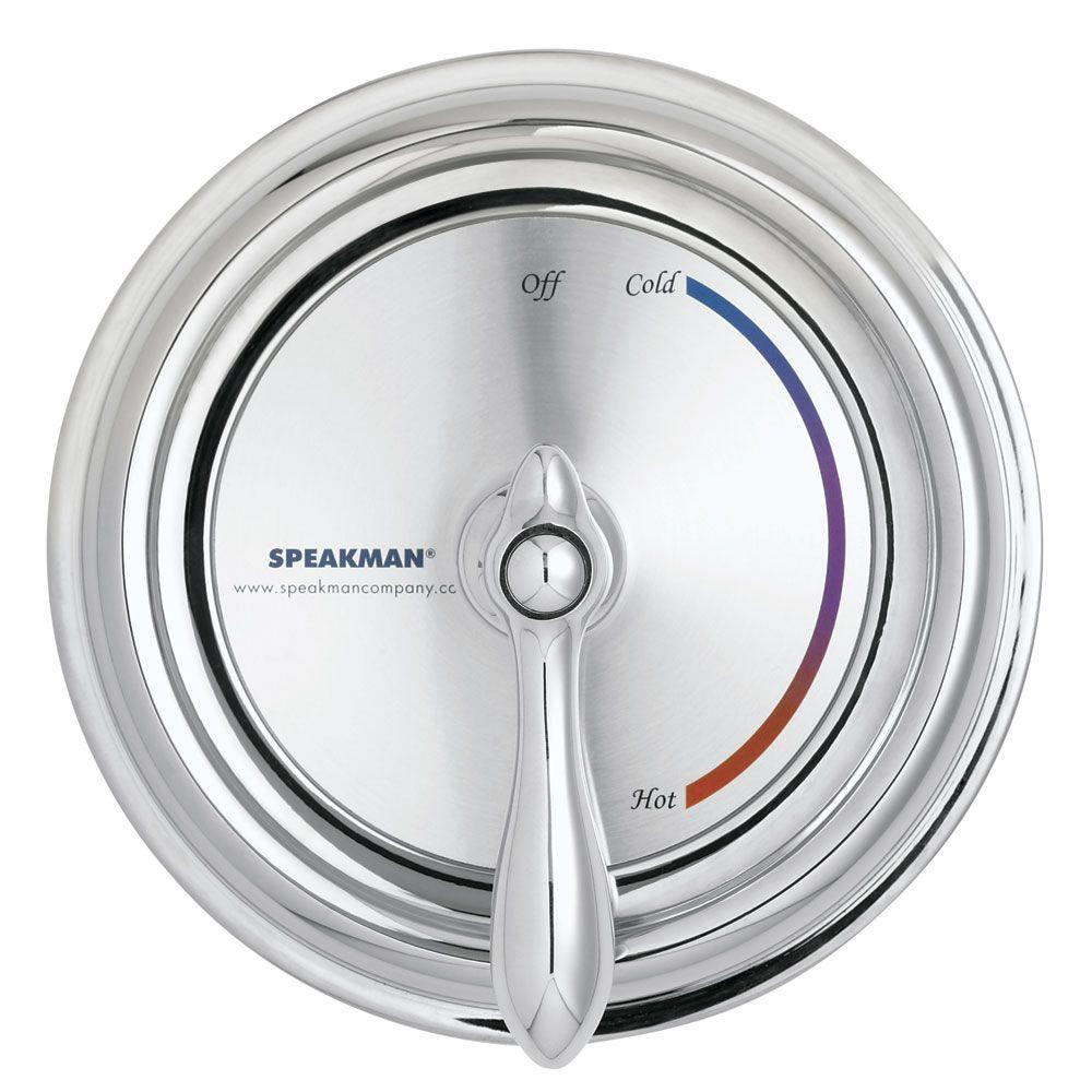 Speakman Sentinel Mark II Regency 1-Handle Pressure Balance Valve and Trim in Chrome with Colored Labels (Valve Included)