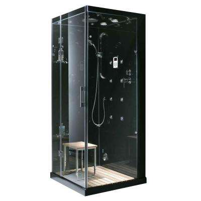 Jupiter 35 in. x 35 in. x 86 in. Steam Shower Enclosure Kit in Black