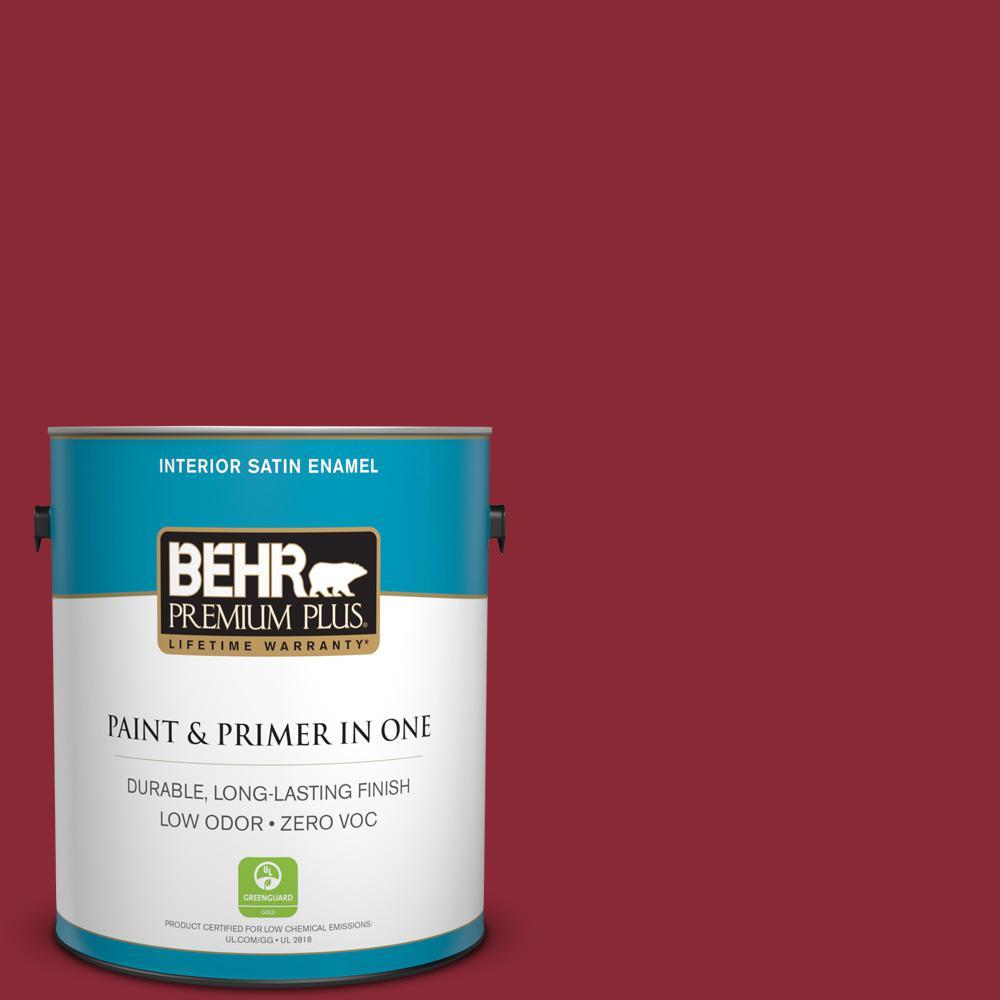 BEHR Premium Plus 1-gal. #PMD-22 Ripe Currant Zero VOC Satin Enamel Interior Paint