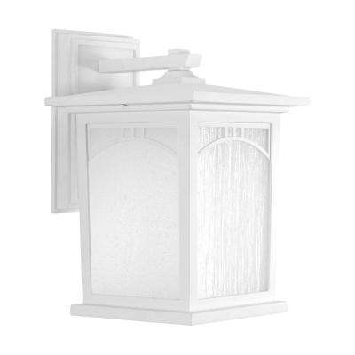 Residence Collection 1-Light 12.2 in. Outdoor Textured White LED Wall Lantern Sconce