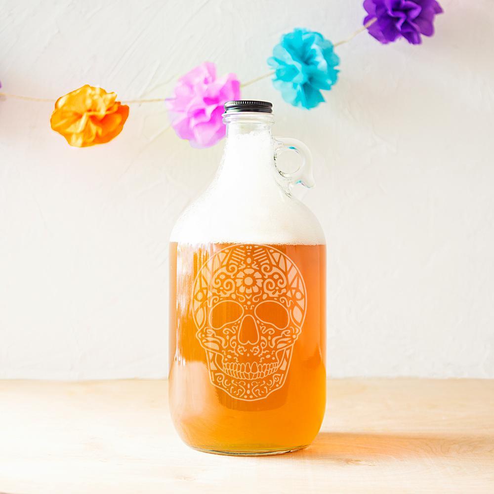 10.44 in. Sugar Skull 64 oz. Halloween Craft Beer Growler