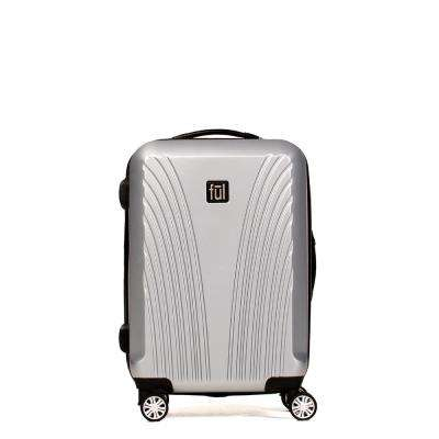 Curve Geo 25 in. Silver ABS Hard Case Upright Spinner Rolling Luggage Suitcase