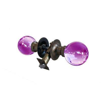 Plush Pinkett Crystal Antique Brass Passive Door Knob with LED Mixing Lighting Touch Activated