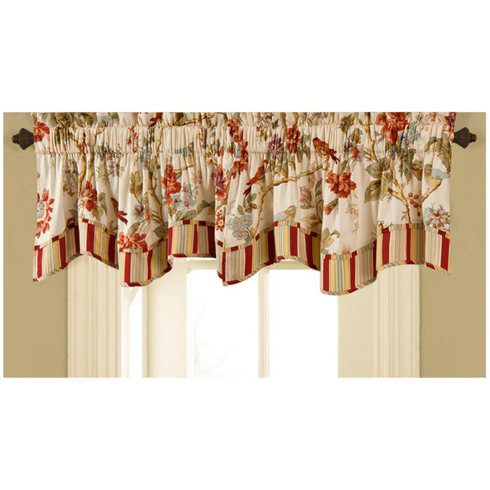16 in. L Charleston Chirp Cotton Lined Window Valance in Papaya