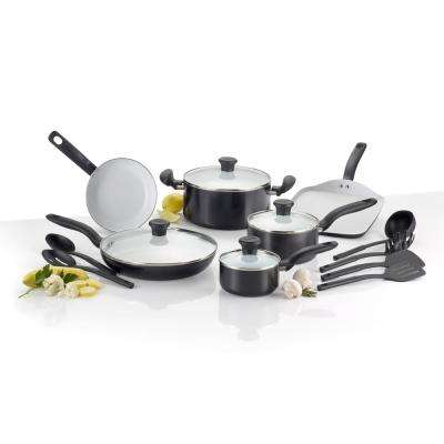 Initiatives Ceramic 16-Piece Black Non-stick Cookware Set