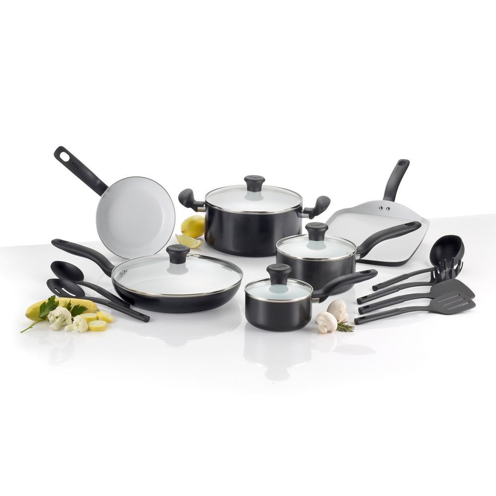 Initiatives Ceramic 16-Piece Black Non-stick Cookware Set