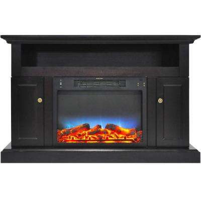 Sorrento Electric Fireplace with Multi-Color LED insert and 47 in. Entertainment Stand in Black Coffee