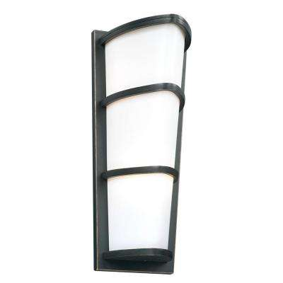 2-Light Outdoor Oil Rubbed Bronze Wall Sconce with Matte Opal Glass