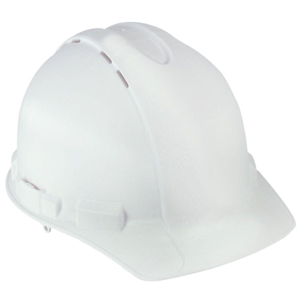 White Vented Hard Hat with Ratchet Adjustment (Case of 6)