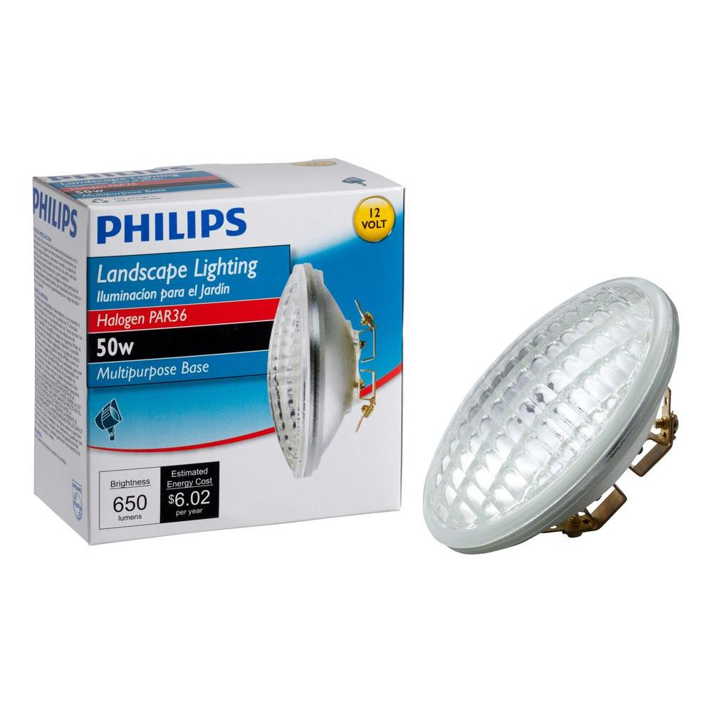 Philips 50 Watt 12 Volt Halogen Par36 Landscape Lighting Multi Purpose Base Flood Light Bulb