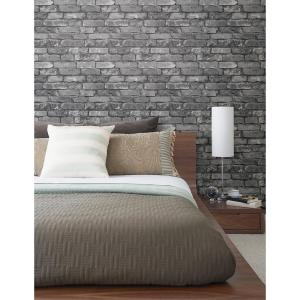 Beacon House 56.4 sq. ft. Brickwork Slate Exposed Brick Wallpaper by Beacon House