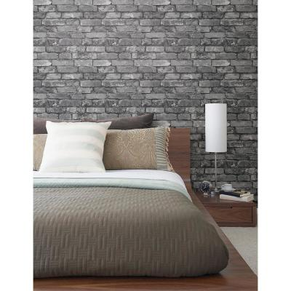 56.4 sq. ft. Brickwork Slate Exposed Brick Wallpaper