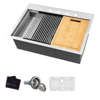 All-in-One Drop-In Stainless Steel 32 in. 4-Hole Single Bowl Kitchen Workstation Sink with Accessories Kit