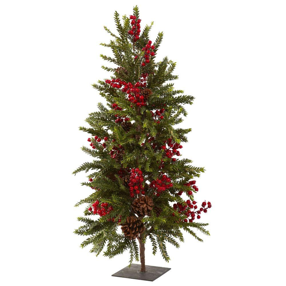 Nearly Natural 36 in. Pine and Berry Artificial Christmas Tree