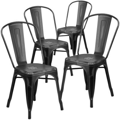 Stackable Metal Outdoor Dining Chair in Black (Set of 4)