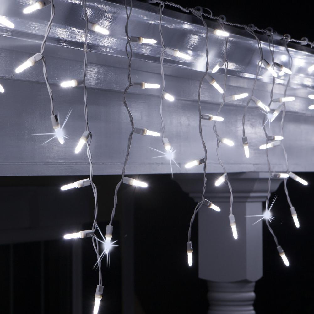 7.5 ft. 70-Light M5 LED Cool White Twinkle Icicle Light Set