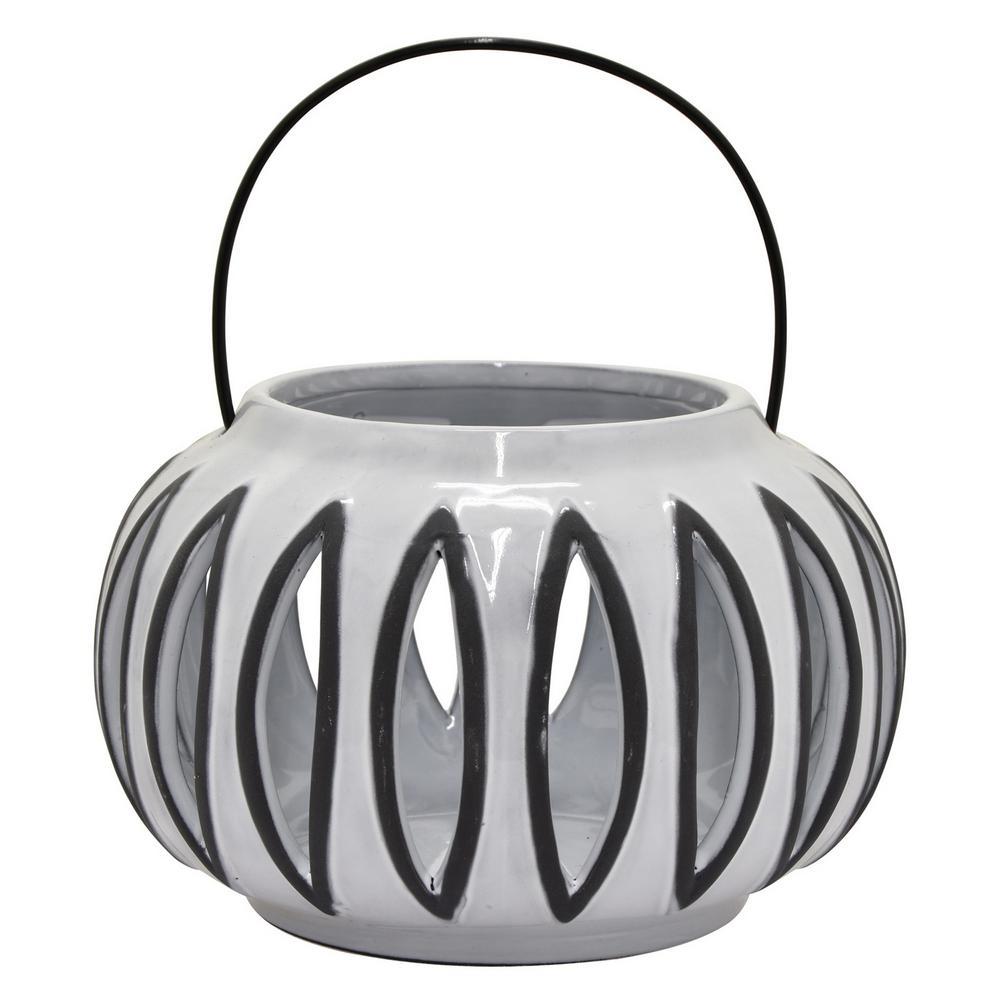 5 in. Gray Ceramic Lantern