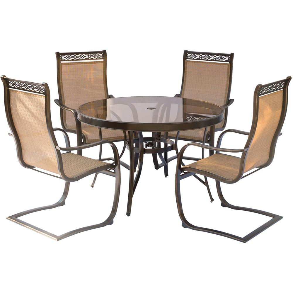 Hanover Monaco 5 Piece Aluminum Outdoor Dining Set With Round Glass Top Table And Contoured