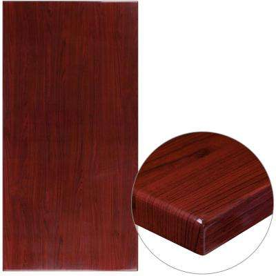 30 in. x 60 in. High-Gloss Mahogany Resin Table Top with 2 in. Thick Drop-Lip