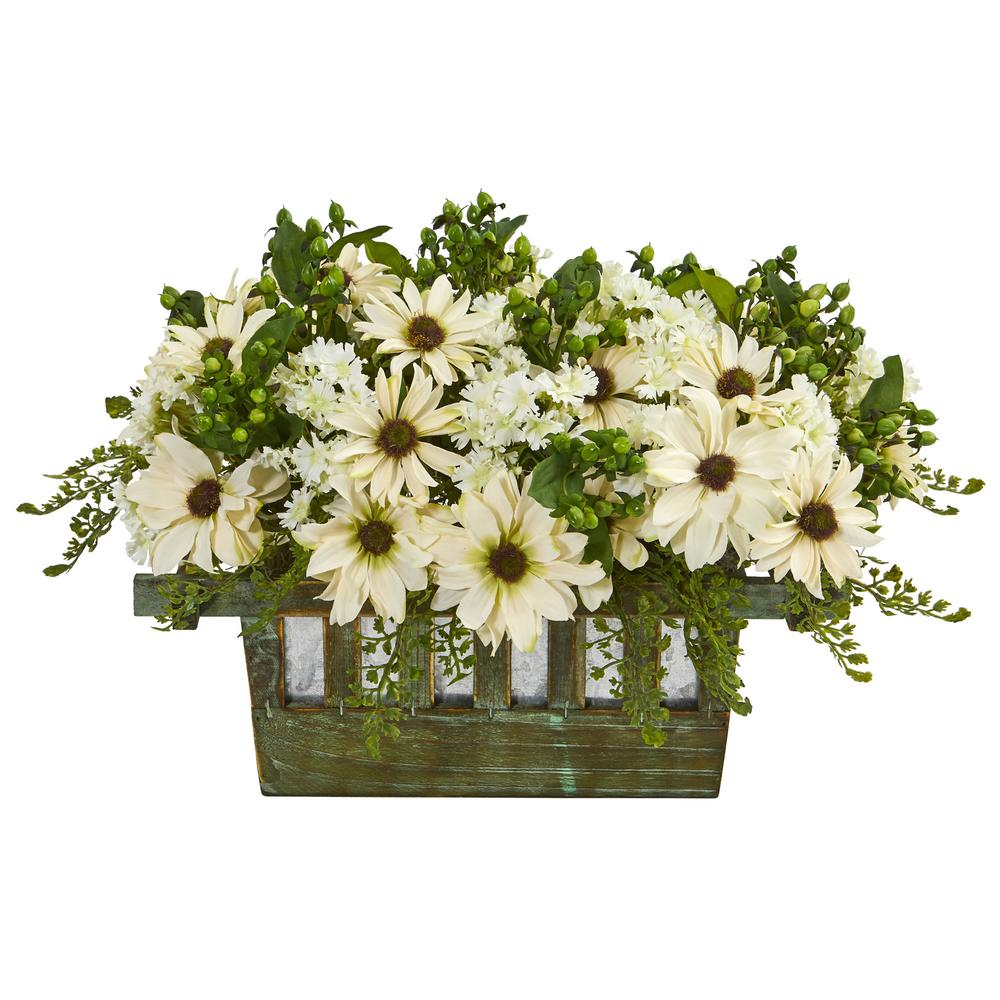 Nearly Natural Indoor Daisy Artificial Arrangement In Decorative