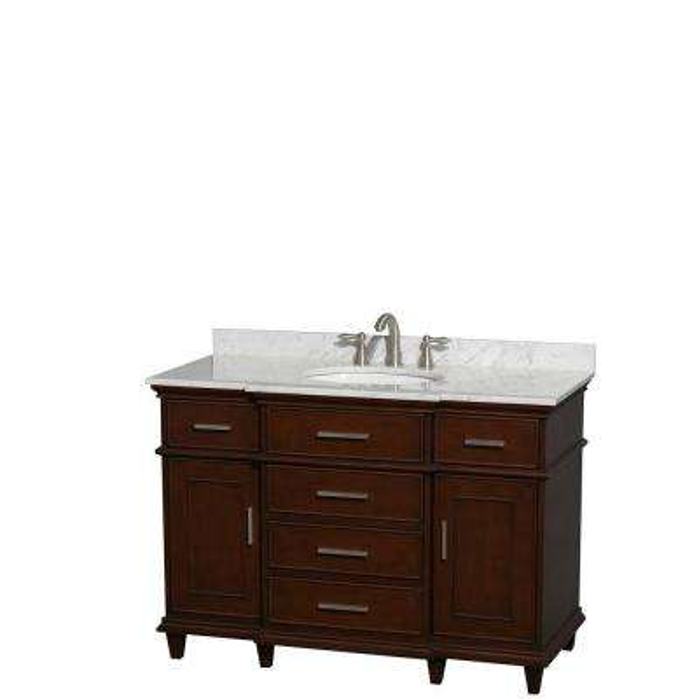 Berkeley 48 in. Vanity in Dark Chestnut with Marble Vanity Top in Carrara White and Oval Basin
