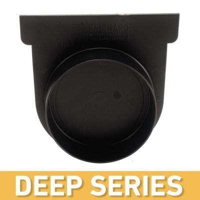 Deep Series Black End Cap and 3 in. Pipe Adaptor for Modular Trench and Channel Drain Systems