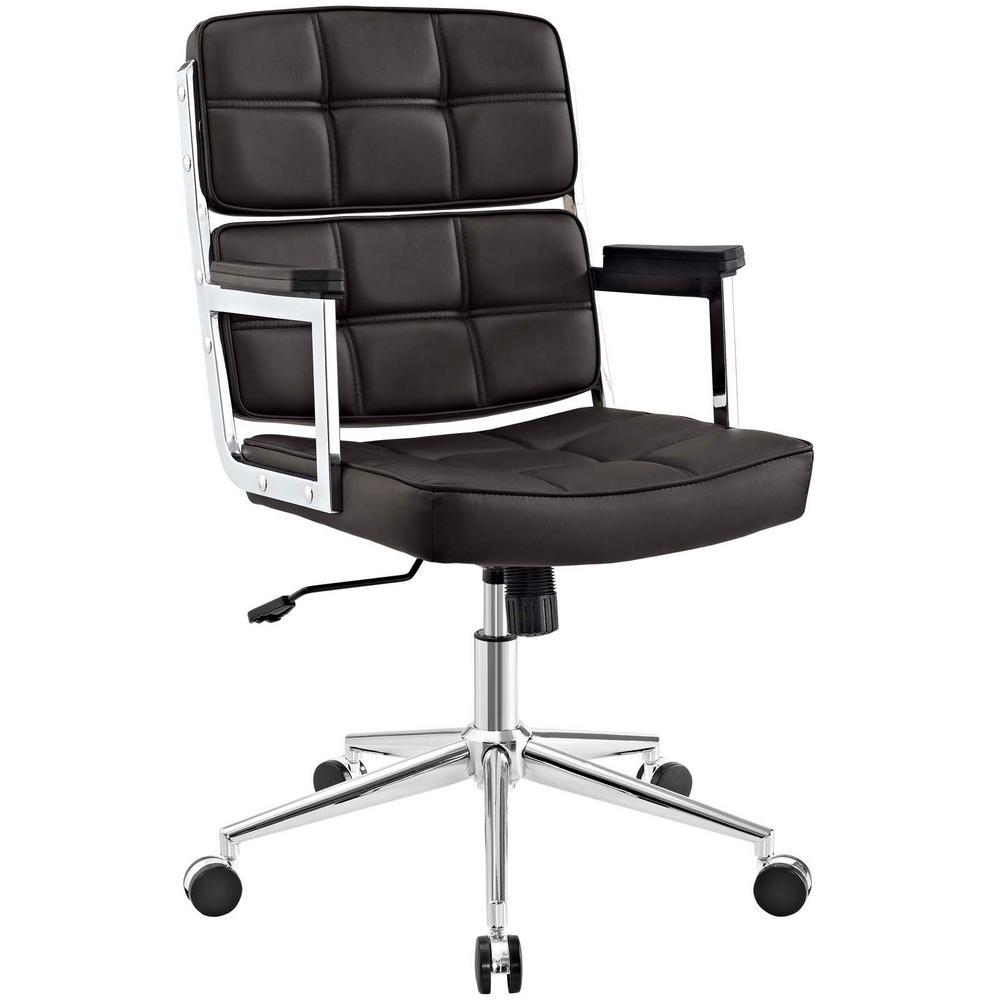 Portray Brown High-Back Upholstered Vinyl Office Chair