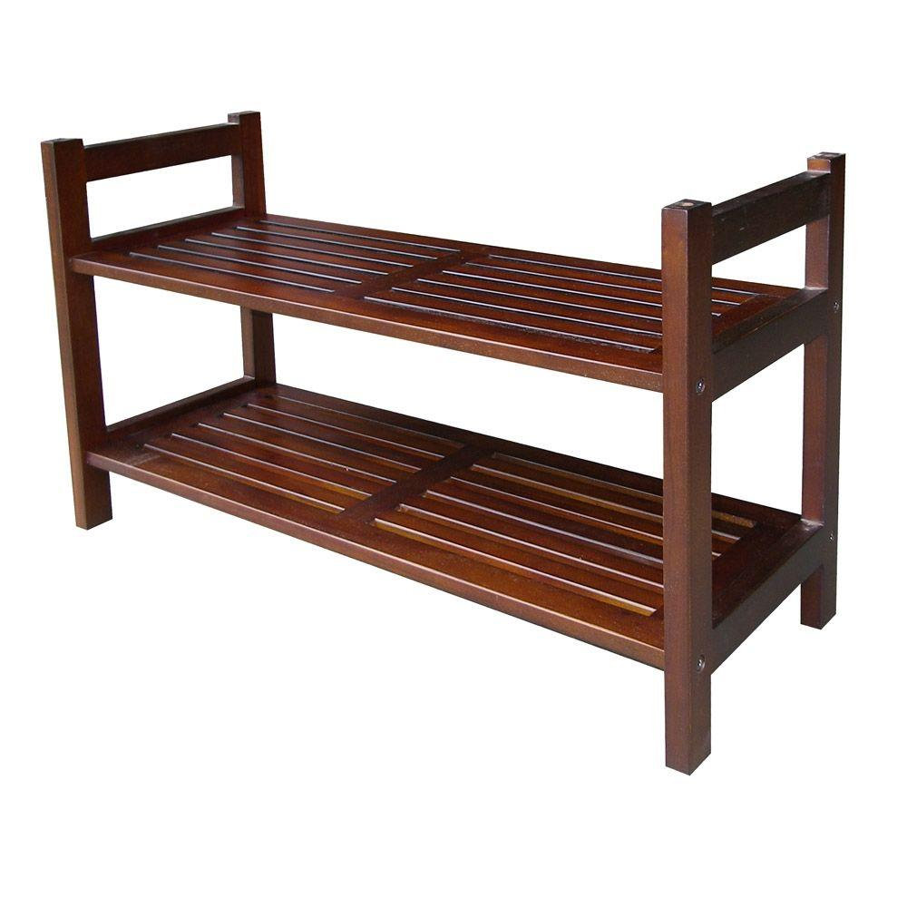 2-Tier 15-1/2 in. W Mahogany Stackable Shoe Rack