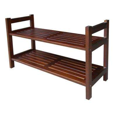 2-Tier 15-1/2 in. W 12-Pair Mahogany Stackable Shoe Organizer