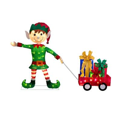 42 in. Christmas Elf Pulling Wagon
