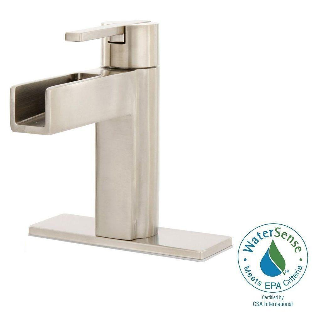 Elegant Centerset Single Handle Waterfall Bathroom Faucet In Brushed Nickel