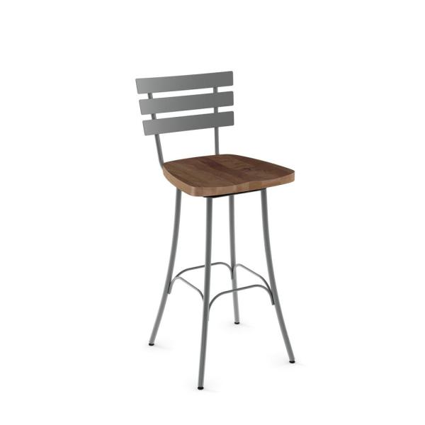 Stadium 26 in. Grey Metal Brown Wood Counter Stool 41266-26/2487