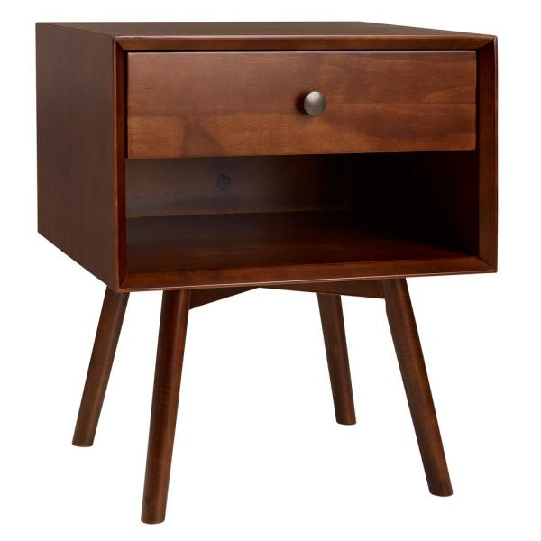 Mid-Century 1-Drawer Walnut Solid Wood Nightstand
