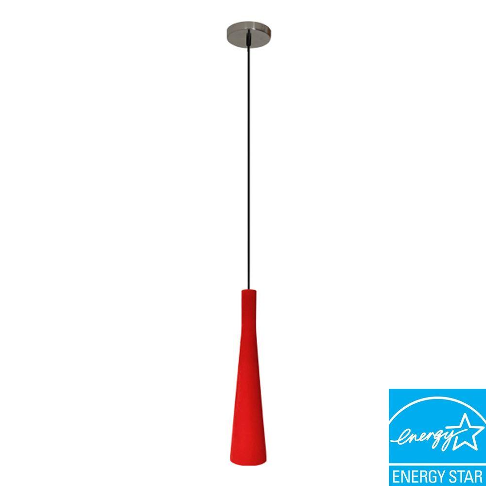 Efficient Lighting Modern Series 1-Light Ceiling Mount Pendant Fixture in Red Suede with GU24 Energy Star Qualified Bulb -DISCONTINUED