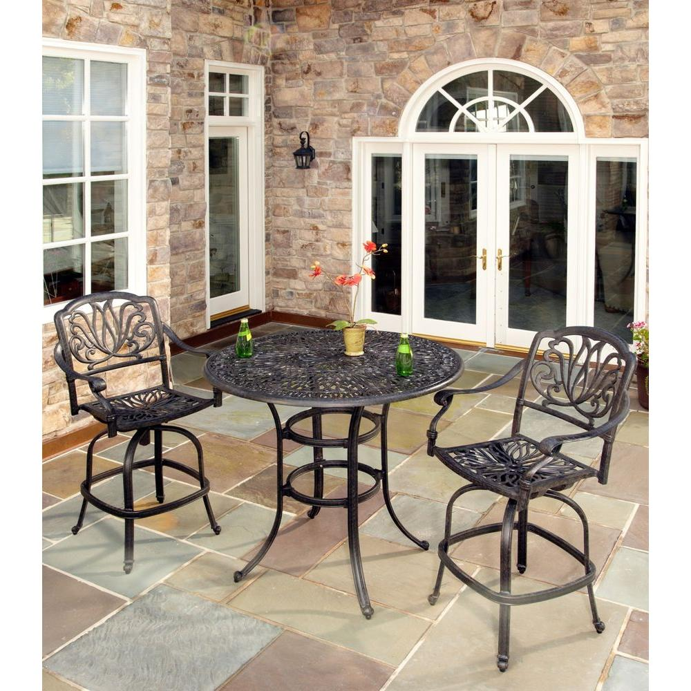Home Styles Floral Blossom 3-Piece Patio Bistro Set with Burnt Sierra Leaf Cushions