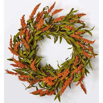 22 in. Fall Spike Wreath on Natural Twig Base