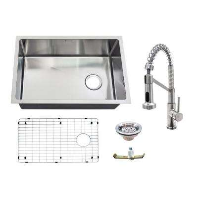 All-in-One 18-Guage Undermount Stainless Steel 27 in. Single Bowl Kitchen Sink with Spring Neck Faucet in Brushed