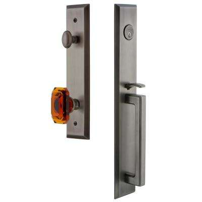 Fifth Avenue 2-3/8 in. Backset Antique Pewter 1-Piece Door Handleset with D-Grip and Baguette Amber Knob