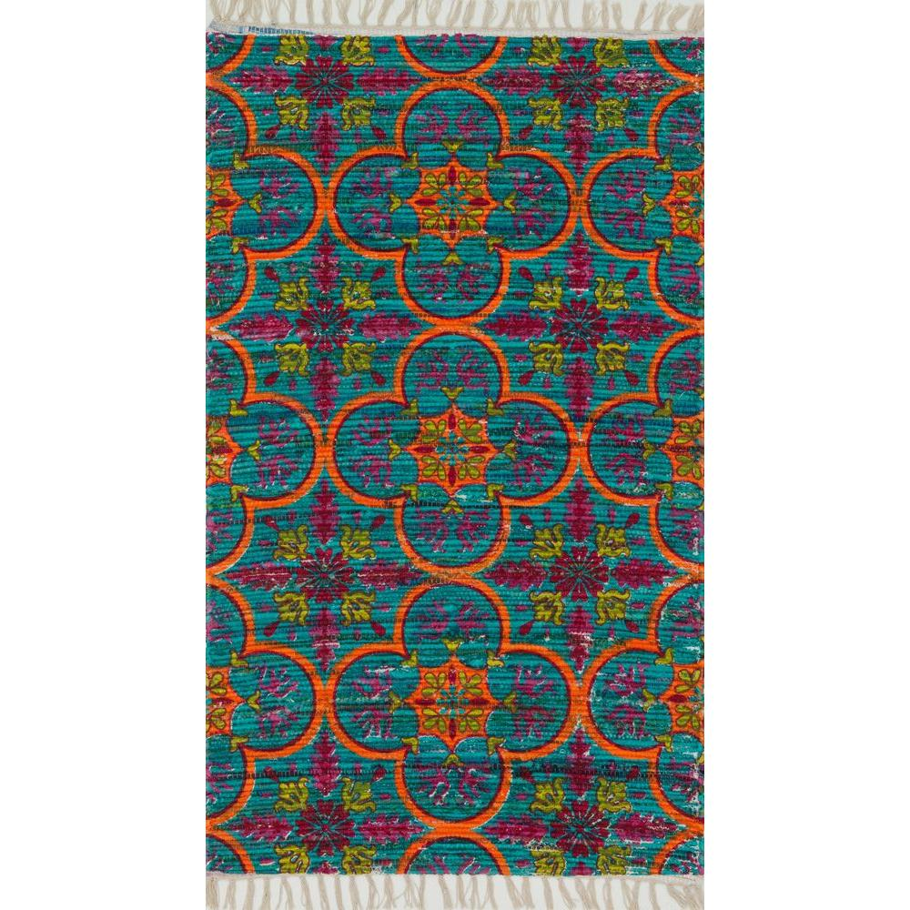 Loloi Rugs Aria Lifestyle Collection Blue/Orange 1 ft. 9 in. x 5 ft. Area Rug